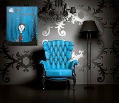 tim burton decor | ... , Skulls, Halloween, Folk Art, Tim Burton, Spooky (16 x 20) on Wanelo