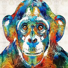 Colorful Chimp Art - Monkey Business - By Sharon Cummings Wall Tapestry by sharoncummings Monkey Business, Animal Paintings, Paintings For Sale, Mayan Zodiac, Cute Lizard, Pet Monkey, Thing 1, Colorful Animals, Spirit Animal