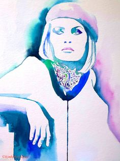 Fashion Illustration Bonnie & Clyde Faye Dunaway Watercolour Painting 1930s Art