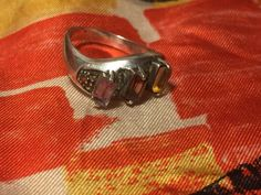 Vtg Multi Gemstone Mid Century Ring Sterling Silver Size 5.75 Womens Jewelry #Unbranded