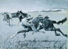 """A Peril of the Plains Frederic Remington ca. 1890 Gouache on paper Bequest of Robert W. Purcell Publication: John Bidwell, """"The First Emigrant Train to California,"""" Century Magazine (November, p. Native American Actors, Native American Warrior, Native American Indians, American Artists, Gaucho, Westerns, Frederic Remington, Apocalypse Art, West Art"""