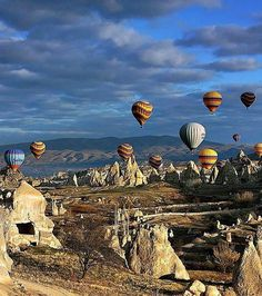The colorful hot air balloons in Cappadocia, Turkey.