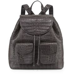 Shop Crocodile Drawstring Backpack, Charcoal from Nancy Gonzalez at Neiman Marcus Last Call, where you'll save as much as on designer fashions. Rucksack Bag, Backpack Purse, Drawstring Backpack, Crocodile, Latest Handbags, Nancy Gonzalez, Luggage Bags, Charcoal, Backpacks