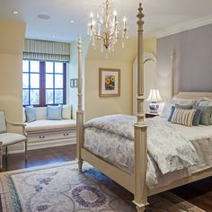 Lavender bedroom.  Looks like yellow-beige walls with a lavender accent wall.  I like it!