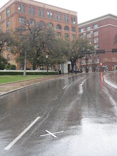 "Elm Street, Dallas Texas ( where Pres. John F. Kennedy was shot and killed). The white ""x"" in the road marks the exact spot where JFK was hit."