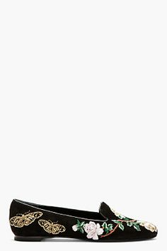 Alexander McQueen Black & Gold Suede Embroidered Loafers for women | SSENSE