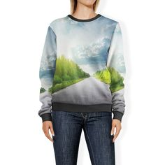 Road Through Forest Sweatshirt Sweater Xs-3Xl