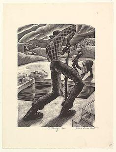 Cutting Ice - 1935-43. Wood engraving. Lou Barlow