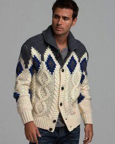 Men's hand knit buttoned cardigan – Hand Knitting Handgestrickte Pullover, Male Hands, Hand Knitted Sweaters, Knit Cardigan, Hand Knitting, Knitting Patterns, Knitwear, Men Sweater, Mens Fashion