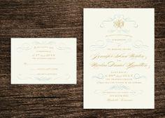 Vintage Scrolls / Printable Wedding Invitation / by CityBeeDesign, $50.00