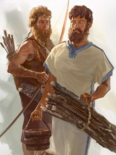 Jacob y Esaú Meaningful Pictures, Bible Pictures, Bible Art, Bible Scriptures, Jacob Bible, Animated Bible, Arte Judaica, Bible Stories For Kids, Bible Illustrations