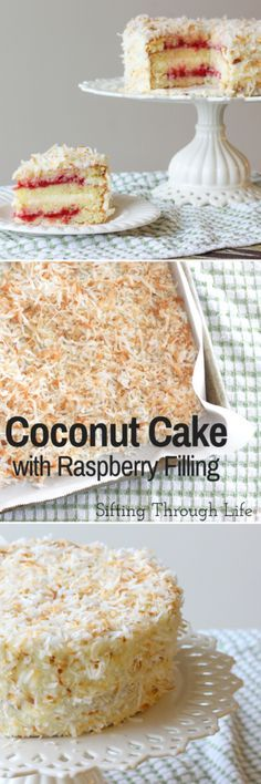Fluffy coconut cake, filled with raspberry jam and topped with coconut cream cheese frosting