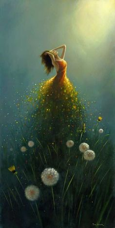 Dandelion Flower Fairy by Jimmy Lawlor Jimmy Lawlor, Dream Art, Fine Art, Oeuvre D'art, Painting & Drawing, Dream Painting, Painting Canvas, Amazing Art, Fantasy Art