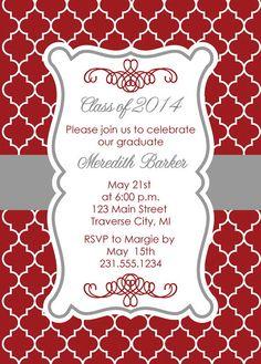 Quatrefoil Graduation Party Invitation -Graduation Announcement - College and High School