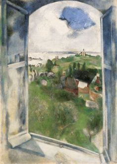 """Marc Chagall (1887–1985) - """"La fenêtre sur l'Ile de Bréhat"""", 1924 - Oil on canvas - Kunsthaus Zürich"""