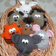 Peter's Pals hedgehog dog lion tiger horse pig by kooklacreations Knitting For Kids, Baby Knitting Patterns, Knitting Projects, Sewing Projects, Crochet Patterns, Art Projects, Knit Headband Pattern, Knitted Headband, Baby Bonnet Pattern