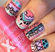 Amazing pastel tribal nails by @_juliamartinez