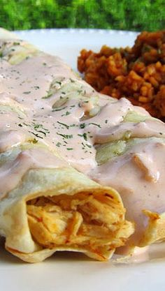 Chicken Ranch Enchiladas and Rice {Slow Cooker}