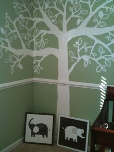 tree mural and elephant canvases