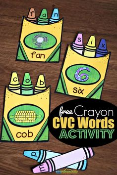 FREE Crayon CVC Words Activity - such a fun, hands on spelling activity for preschool, prek, and kindergarten age kids Rhyming Activities, Teaching Activities, Educational Activities, Cvce Words, Kindergarten Literacy, Literacy Games, Teaching Phonics, Literacy Stations, Literacy Centers