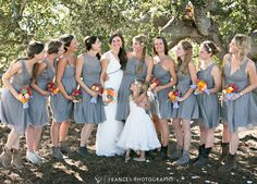 Beautiful Gray Bridesmaids Dresses with Frances Photography.