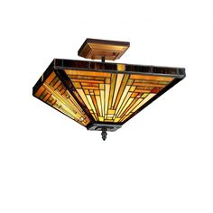 96 This beautiful Mission-design 2-light flush mount features a Tiffany-style shade of beautiful beige, amber and green art glass. Complete with a bronze finish, lend an warm, colorful accent to your home with this beautiful light fixture.