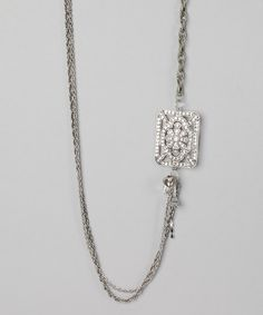 Take a look at this White Rhinestone & Silver Tiffany Necklace by Ms. V Designs on #zulily today!