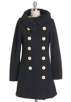 Have to Flurry Coat - Double Breasted, Long Sleeve, Fall, Winter, Black, Good, Long, Knit, 3, Black, Solid, Buttons, Pockets