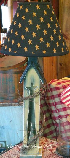 with Americana shade.love this lamp.would be cute on a screen porch. Primitive Lamps, Primitive Antiques, Primitive Crafts, Country Primitive, Wood Crafts, Country Lamps, Country Decor, Prim Decor, Rustic Decor