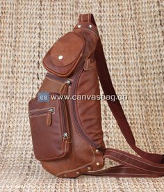 Genuine Leather Cowhide Brown Waist Fanny Pack Sling Leather Crossbody Bag for Men Leather Chest Pack (2)