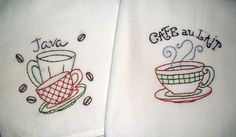 Hand Embroidered Coffee Themed Dish Towels Available on Etsy $13.50