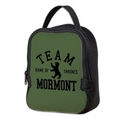 """GOT Team Mormont Neoprene Lunch Bag Do you like Lady Lyanna, Jorah, Lord Commander Jeoh, or just everyone on Bear Island? This design reads """"Team Mormont"""" in retro, athletic style lettering with a bear icon. For fans of the fantasy TV show Game Of Thrones Athletic Style, Athletic Fashion, Lady Mormont, Fantasy Tv Shows, Bear Island, M&m Game, Neoprene Lunch Bag, Iphone Pro, Tv Show Games"""