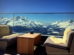 Outdoor restaurant at Romantik Hotel Muottas Muragl in the Swiss Alps (St Moritz, Engadin, Switzerland)
