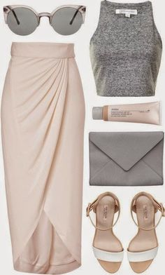 I love the high waistline on this skirt and the color combination of the gray and pale pink! I'd for sure wear this entire outfit!