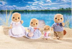 Calico Critters Sea Otter Family at Creative Kidstuff Calico Critters Families, Baby Pool, Vintage Teddy Bears, Sea Otter, Family Set, Sylvanian Families, Family Costumes, Light Of My Life, Baby Sister
