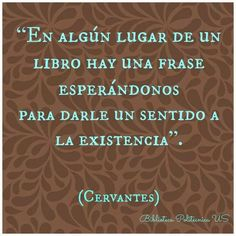 """""""En algún lugar de un libro hay una frase esperándonos para darle un sentido a la existencia""""-Cervantes"""