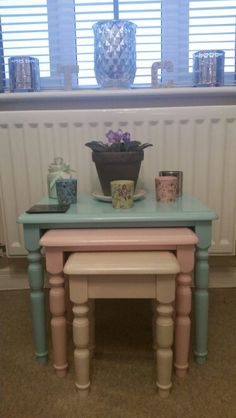 Upcycled nest of tables.Painted pine