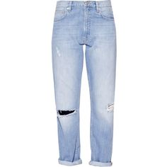 French Connection High Rise Boyfriend Jeans, Ripped Bleach ($41) ❤ liked on Polyvore featuring jeans, pants, bottoms, trousers, high waisted distressed jeans, mid rise boyfriend jeans, high-waisted jeans, ripped boyfriend jeans and high rise boyfriend jeans