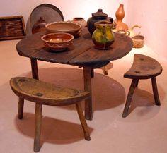 Handmade, three legged stools and table from Kumanovo.