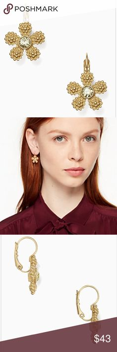 Kate Spade ♠️ Marguerite Leverback gold earrings Brand new with tag and pouch Authentic!! Fast shipping ‼️price firm‼️ No trade 