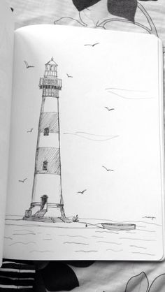 Sea Drawing, Pastel Drawing, Painting & Drawing, Lighthouse Sketch, Lighthouse Art, Sea Animals Drawings, Bird Drawings, Art Drawings Sketches Simple, Cool Drawings