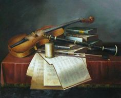 Musical Instruments Oil Painting