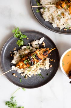 Thai Chicken Skewers w/ Peanut Sauce & Coconut Cauliflower Rice – Quarter Soul Crisis Healthy Salad Recipes, Healthy Breakfast Recipes, Healthy Eating, Clean Eating, Coconut Cauliflower Rice, Thai Chicken Satay, Mushroom Casserole, Thai Peanut Sauce, Thai Cooking
