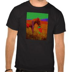 Christmas Rainbow Horse with red bow T-shirts
