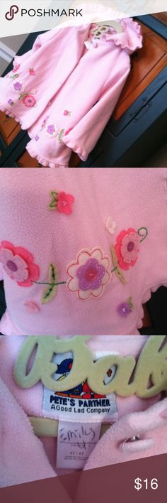 Pete's partner sz 4T swing coat Adorable   Poly swing coat  flowers and buttons adorn this very sweet coat.    Measures 15 inches across at top. Shoulder to hem is 19 inches.  Sweet !!!  You will love this !!! petes partner Jackets & Coats