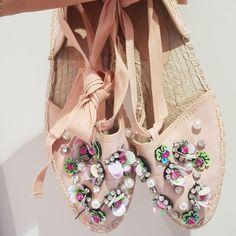ec26e25a6b7 Asos embellished ballerina style espadrilles Gorgeous pink 6 - Depop