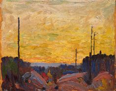 "It could be argued that Thomson's preoccupation with WWI manifested itself in a number of his paintings that depict the destruction and chaos caused by forest fires, flooding, and storms. Tom Thomson, ""Burned Over Land,"" 1916, McMichael Canadian Art Collection."
