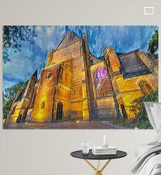 Digitaal kunstwerk Grote Sint-Laurenskerk Alkmaar. Gebaseerd op originele foto gemaakt 's avonds laat. <br><br>De Grote Sint-Laurenskerk, voorheen Grote of Sint-Laurenskerk, is een kerkgebouw aan de Koorstraat 2 in Alkmaar. Het is een met natuursteen beklede bakstenen kruisbasiliek met zevenzijdige koorsluiting. De bouw vond plaats van 1470 tot 1518. De kerk heeft vier traptorens en bevat het oudste nog te bespelen kerkorgel van Nederland. De van oorsprong katholieke kerk werd in 1573 protestant Canvas, Prints, Poster, Painting, Art, Tela, Art Background, Painting Art, Kunst