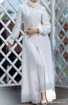 مدل مانتو سفید برای عقد Modern Hijab Fashion, Abaya Fashion, Muslim Fashion, Fashion Dresses, Sleeves Designs For Dresses, Prom Dresses With Sleeves, Iranian Women Fashion, Hijab Fashionista, Mode Hijab