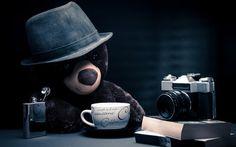 Teddy on a coffee break wallpaper #coffeebreak #teddybear
